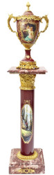 Casa Padrino Baroque Column with Vase Bordeaux Red / Multicolor / Gold - Magnificent Deco Set in Baroque Style