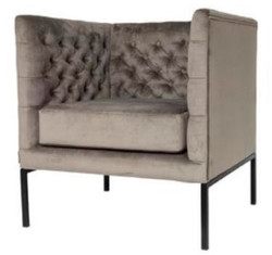 Casa Padrino Luxury Chesterfield Velvet Armchair Gray / Black 75 x 67 x H. 83 cm - Chesterfield Furniture