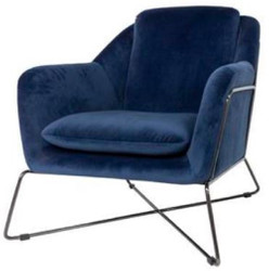 Casa Padrino Luxury Lounge Club Velvet Armchair Blue / Black 75 x 87 x H. 80 cm - Hotel Furniture