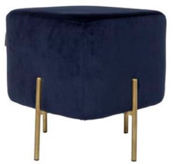 Casa Padrino luxury stool dark blue / brass 40 x 40 x H. 45 cm - Designer Living Room Furniture