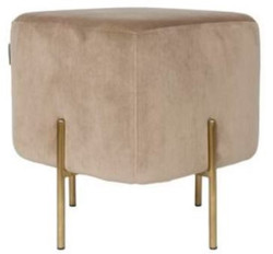 Casa Padrino luxury stool beige / brass 40 x 40 x H. 45 cm - Designer Living Room Furniture
