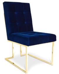 Casa Padrino Luxus Chesterfield Samt Esszimmerstuhl Dunkelblau / Gold 48 x 67,5 x H. 90 cm - Esszimmermöbel