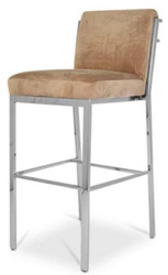 Casa Padrino luxury bar chair taupe / silver 43 x 54 x H. 101 cm - Stainless Steel Bar Stool with Velvet Fabric