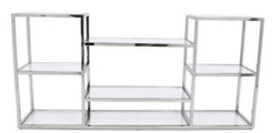 Casa Padrino Luxury Console Silver 160 x 38 x H. 75 cm - Stainless Steel Console Table with Glass Tops