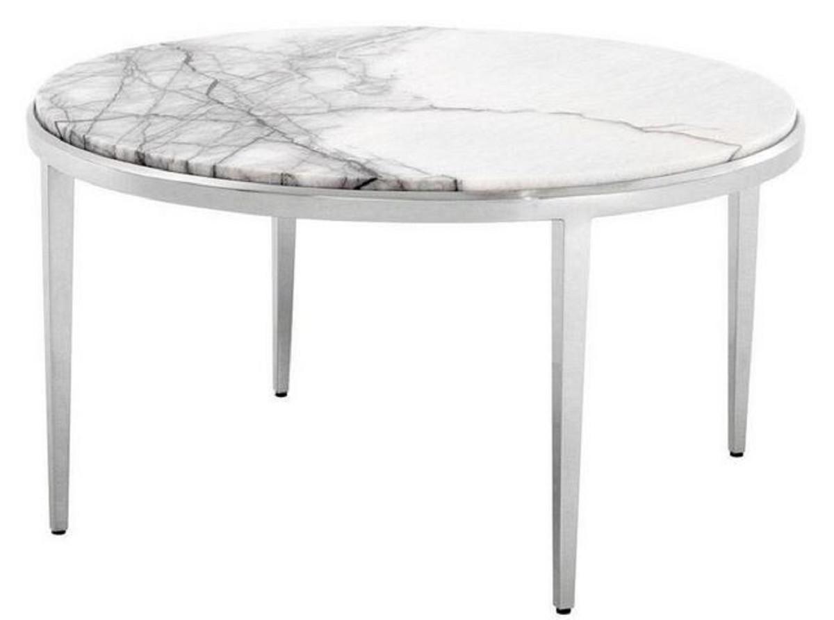 Casa Padrino Luxus Couchtisch Weiss Silber O 65 X H 36 Cm Runder