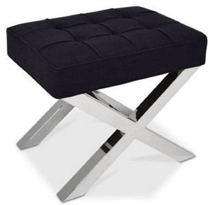 Casa Padrino Luxury Chesterfield Stool Black / Silver 60 x 50 x H. 47 cm - Living Room Furniture - Luxury Collection
