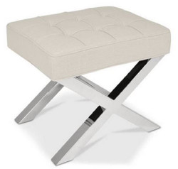 Casa Padrino Luxury Chesterfield Velvet Stool Beige / Silver 60 x 50 x H. 47 cm - Living Room Furniture - Luxury Collection