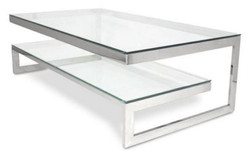 Casa Padrino luxury coffee table silver 150 x 80 x H. 47 cm - Living Room Table with Metal Frame and Glass Plates
