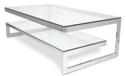 Casa Padrino Luxus Couchtisch Silber 150 x 80 x H. 47 cm - Wohnzimmertisch mit Metallrahmen und Glasplatten
