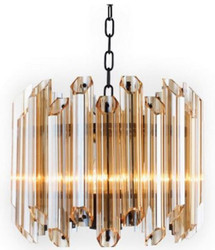 Casa Padrino luxury chandelier black / amber Ø 34 x H. 42 cm - Luxury Quality