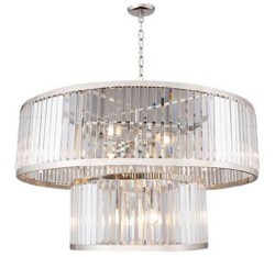 Casa Padrino Luxury Crystal Chandelier Silver Ø 90 x H. 50 cm - Hotel & Restaurant Chandelier - Luxury Quality