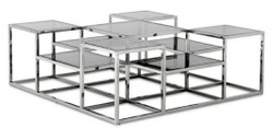 Casa Padrino designer coffee table silver / gray 120 x 120 x H. 42 cm - Luxury Living Room Furniture