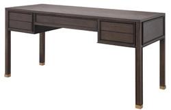 Casa Padrino Luxus Schreibtisch mit 5 Schubladen Braun / Messingfarben 161 x 65,5 x H. 78,5 cm - Büromöbel