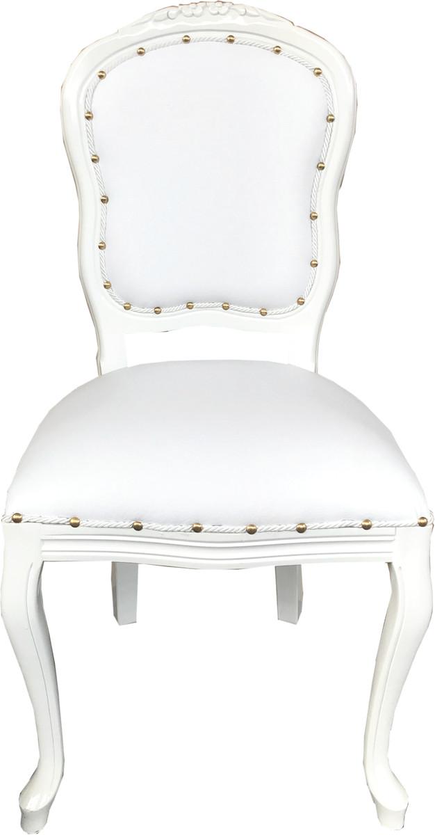 Casa Padrino Barock Luxus Esszimmer Stuhl Weiß Kunstleder Weiß Mod