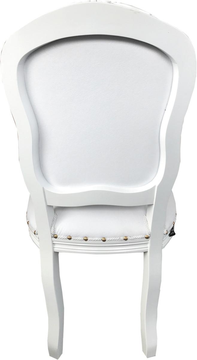 Silla de comedor de lujo Casa Padrino, estilo barroco, cuero sintético  blanco / White Mod Antibes - Muebles hechos a mano