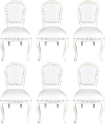 Casa Padrino Luxury Baroque Dining Room Set White / White 55 x 54 x H. 103 cm - 6 Handmade Dining Chairs with Faux Leather - Baroque Dining Room Furniture
