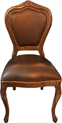 Casa Padrino Baroque Luxury Genuine Leather Dining Chair Brown / Brown - Handmade furniture with genuine leather