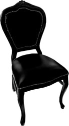 Casa Padrino Baroque Luxury Real Leather Dining Chair Black / Black - Handmade furniture with genuine leather