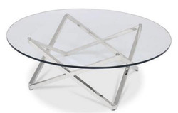 Casa Padrino luxury coffee table silver Ø 60 x H. 50 cm - Round Living Room Table with Glass Top - Luxury Living Room Furniture