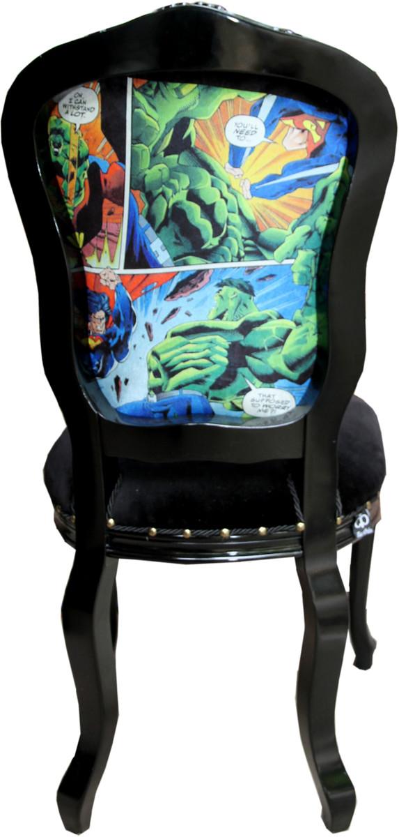 Casa Padrino Baroque Luxury Dining Chair Comic Black Designer Chair Design Furniture