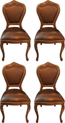 Casa Padrino Luxury Baroque Dining Set Brown / Brown 45 x 47 x H. 99 cm - 4 Handmade Solid Wood Dining Chairs with Genuine Leather - Baroque Dining Room Furniture