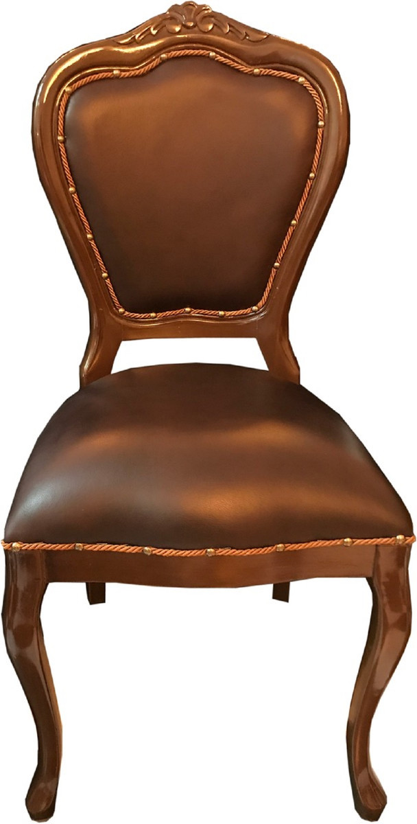 Casa Padrino Luxury Baroque Dining Set Brown Brown 45 X 47 X H 99 Cm 6 Handmade Solid Wood Dining Chairs With Genuine Leather Baroque Dining Room Furniture