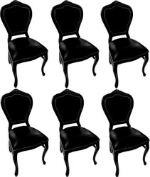Casa Padrino Luxury Baroque Dining Set Black / Black 45 x 47 x H. 99 cm - 6 Handmade Solid Wood Dining Chairs with Genuine Leather - Baroque Dining Room Furniture