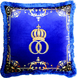 Harald Glööckler Luxury Pillow Pompöös by Casa Padrino Crown Deluxe Blue / Gold - Finest Velvet Fabric - Glööckler Decorative Pillow with Rhinestones
