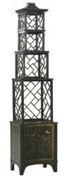 Casa Padrino Luxury Etagere Chinese Style Green / Gold 54 x 37 x H. 219 cm - Hotel & Restaurant Accessories