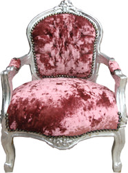 Casa Padrino Baroque kids chair velor old rose / silver - children's furniture