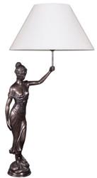 Casa Padrino Tischleuchte mit Bronzefigur Justitia Bronze / Weiß 55 x 48 x H. 105 cm - Hotel & Restaurant Tischlampe