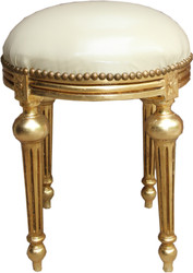 Casa Padrino Baroque stool cream leather look / Gold - Baroque round stool furniture