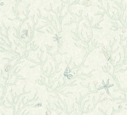 Versace Designer Baroque Non-Woven Wallpaper Les Etoiles de la Mer 344962 Green Metallic - Design Wallpaper - Luxury Wallpaper