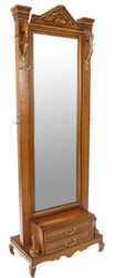 Casa Padrino baroque solid wood standing mirror with 2 drawers and coat hooks brown 50 x H. 190 cm - Baroque Furniture