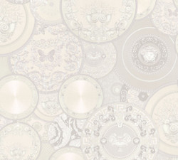 Versace Designer Baroque Non-Woven Wallpaper 349014 Les Etoiles de la Mer 2 White / Gray - Design Wallpaper - High Quality
