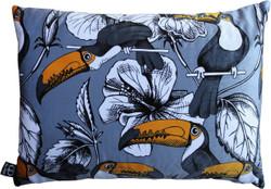 Casa Padrino Luxury Cushion Toronto Parrots Gray / Multicolor 35 x 55 cm - finest velvet fabric - luxury quality