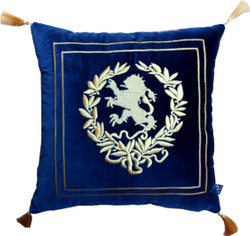 Casa Padrino luxury decorative cushion coat of arms dark blue / gold with golden tassels 45 x 45 cm - finest velvet fabric - Luxus Wohndeko