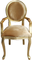 Casa Padrino Baroque Luxury Dining Room Locket Chair with Armrests Gold Velvet Fabric / Gold