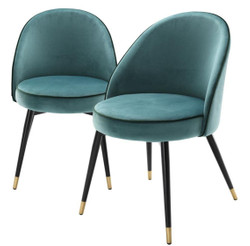 Casa Padrino Luxury Dining Chair Set Turquoise / Black / Brass 55 x 64 x H. 83 cm - Dining Room Furniture - Luxury Collection
