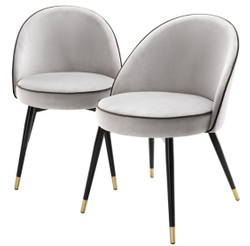 Casa Padrino Luxury Dining Chair Set Light Gray / Black / Brass 55 x 64 x H. 83 cm - Dining Room Furniture - Luxury Collection