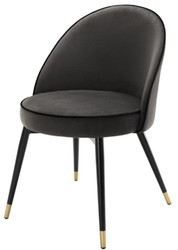 Casa Padrino Luxury Dining Chair Set Dark Gray / Black / Brass 55 x 64 x H. 83 cm - Dining Room Furniture - Luxury Collection 2