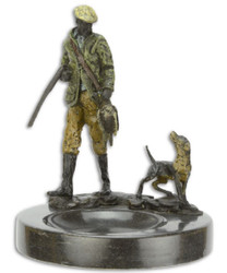Casa Padrino luxury ashtray with decorative bronze figures hunter and dog multicolor / black Ø 12.9 x H. 15.8 cm - Deco Accessories