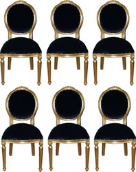 Casa Padrino Luxury Baroque Dining Room Set Medallion Royal Blue / Gold 50 x 52 x H. 99 cm - 6 Handmade Dining Chairs - Baroque Furniture
