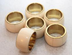 Casa Padrino Luxury Vintage Look Napkin Rings Horn / Brass - Set of 6 Napkin Rings