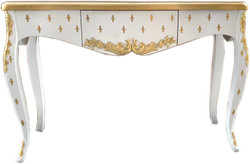Casa Padrino Luxury Baroque console white gold with drawer 120 x 40 x h. 85 cm - Baroque console table