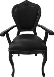 Casa Padrino Baroque Luxury Genuine Leather Dining Chair Black / Black with Armrests - Handmade furniture with genuine leather