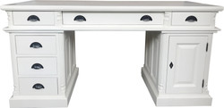 Casa Padrino Luxury Desk Pine Solid England White 160 cm - English Desk - Antique Style - Empire Art Nouveau Baroque Colonial Shabby Chic