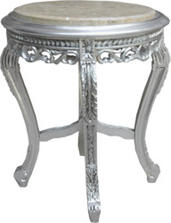 Casa Padrino Baroque side table silver with cream marble top 48 x 48 x h 55 cm - Baroque furniture side table