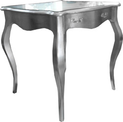 Casa Padrino Baroque dining table silver with drawer 80 x 80 cm - dining table furniture