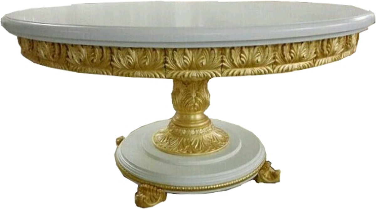 Mesa de comedor barroca de lujo de Casa Padrino redonda blanca / dorada con  tapa de cristal de 140 cm - mesa barroca